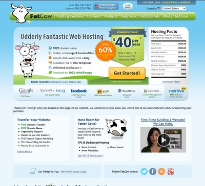 Screenshot of Fatcow's Homepage