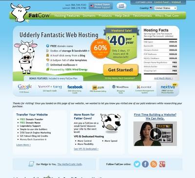 Screenshot of Fatcow's Homepage