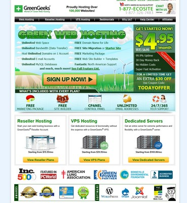 Green Geeks Homepage screenshot