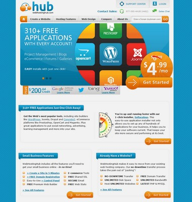 Screenshot of Web Hosting Hub Homepage